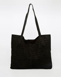 Замшевая сумка-шоппер с отделкой под кожу крокодила ASOS - Черный