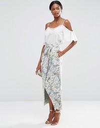 Жаккардовая юбка макси с запахом ASOS Premium - Винтажный цветочный