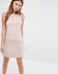 Платье халтер в рубчик с завязкой сзади Fashion Union - Розовый