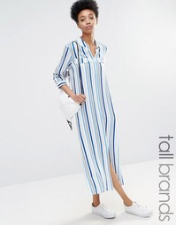 Платье-рубашка в полоску с боковым разрезом Adpt Tall - Мульти