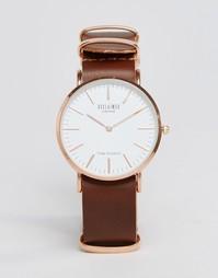 Часы с коричневым кожаным ремешком Reclaimed Vintage - Коричневый