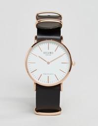 Часы с черным кожаным ремешком Reclaimed Vintage - Черный