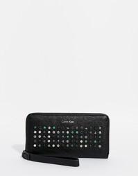 Кошелек на молнии с заклепками Calvin Klein - Черный