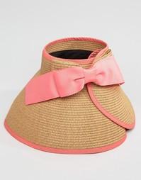 Соломенная шляпа-козырек в винтажном стиле с бантом сзади Liquorish