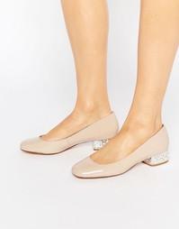Лакированные балетки со стразами на каблуке Dune Bijoux