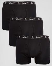 Набор из 3 черных боксеров-брифов Original Penguin - Черный