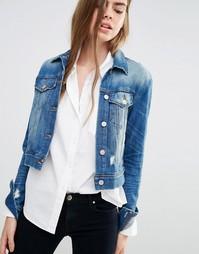 Джинсовая куртка с декоративными прорехами J Brand Harlow