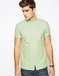 Зеленая оксфордская рубашка с короткими рукавами ASOS - Зеленый