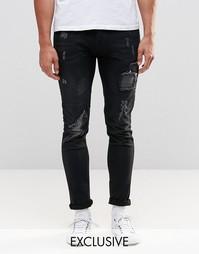 Зауженные потертые джинсы темного цвета индиго Brooklyn Supply Co Supe