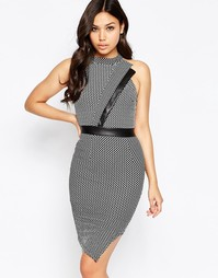 Amy Childs Tamara Asymmetric High Neck Mini Dress - Серый