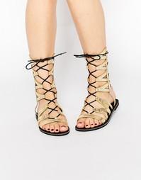 Геометрические сандалии на шнурках Missguided - Золотой