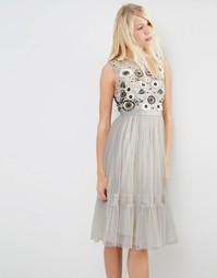 Декорированное платье миди из тюля Needle & Thread Woodland - Серый