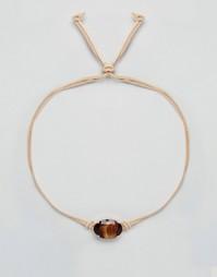 Замшевое ожерелье‑чокер с овальным кристаллом Swarovski Krystal