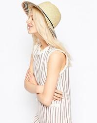 Соломенная шляпа с полосатой тесьмой ASOS - Коричневый