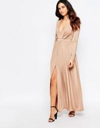 Платье макси с запахом и высоким разрезом Sistaglam Skylar - Кэмел