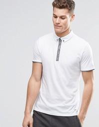 Белая футболка-поло с контрастной планкой BOSS Orange - Белый