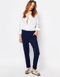 Широкие cтрогие брюки со складками Boss Orange - Темный синий