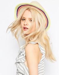 Соломенная шляпа-трилби с полосатой лентой ASOS - Естественный