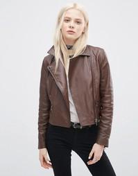 Кожаная байкерская куртка с контрастной молнией ASOS - Коричневый