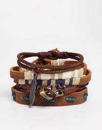 Набор кожаных браслетов ASOS - Коричневый