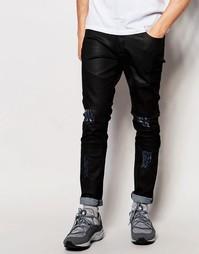 Байкерские джинсы с рваной отделкой Systvm - Черный