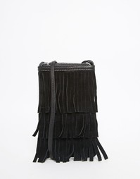Замшевая сумка-кошелек с бахромой ASOS - Черный
