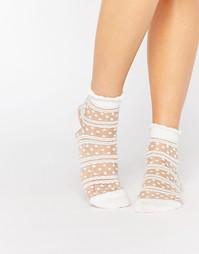 Носки с прозрачными вставками 7X - White sheer