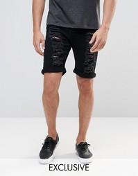 Черные рваные джинсовые шорты слим Liquor & Poker - Черный
