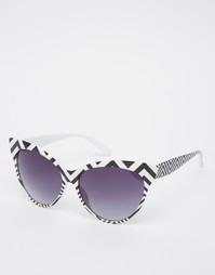 Солнцезащитные очки кошачий глаз с зигзагообразным принтом AJ Morgan