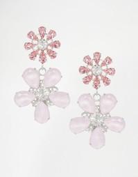 Серьги-подвески в виде цветов с кристаллами Swarovski Krystal