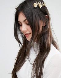 Украшение для волос с металлическими цветами Orelia - Розовое золото