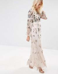 Многослойное платье макси с кружевом Needle & Thread Woodland