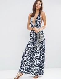 Пляжное платье макси с леопардовым принтом и завязкой на шее ASOS