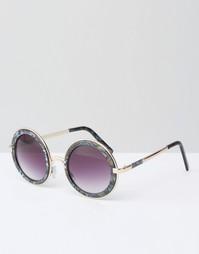 Круглые солнцезащитные очки с металлической отделкой и двойной перенос Asos