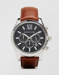Часы с хронографом и коричневым ремешком Michael Kors Lexington MK8456