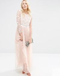 Платье макси из тюля с бабочками Needle & Thread - Розовый лепесток