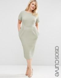 Облегающее фактурное платье миди ASOS CURVE - Зеленый шалфей
