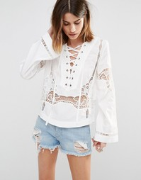 Блузка со вставкой на шнуровке Free People Bittersweet - Белый