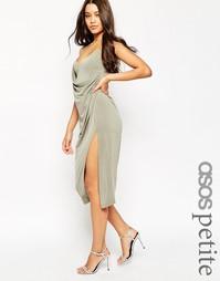 Креповое платье-сорочка миди с запахом ASOS PETITE - Хаки