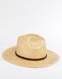 Соломенная шляпа с плиссированной кожаной лентой Catarzi - Бежевый