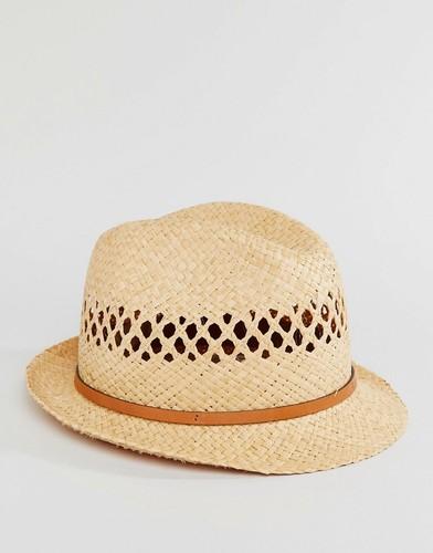 Соломенная шляпа с кожаной тесьмой Catarzi - Бежевый