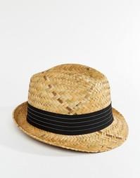 Соломенная шляпа с черной лентой Catarzi - Бежевый