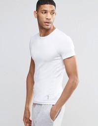 Белая облегающая футболка в рубчик Hugo Boss - Белый