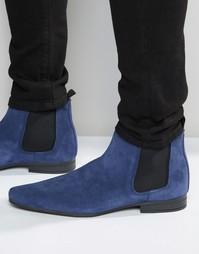 Синие замшевые ботинки челси ASOS - Синий