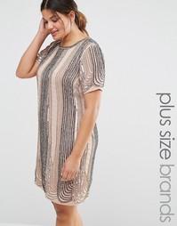 Цельнокройное платье с отделкой Lovedrobe - Розовый