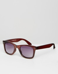 Квадратные солнцезащитные очки в коричневой оправе ASOS - Коричневый