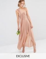 Платье макси на одно плечо TFNC WEDDING - Серо-коричневый
