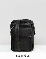 Черная кожаная сумка для авиапутешествий Reclaimed Vintage - Черный