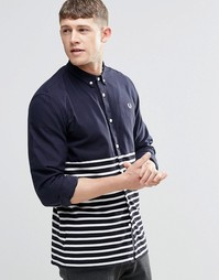 Fred Perry Shirt In Slim Fit With Half Stripe In Navy - Темно-синий