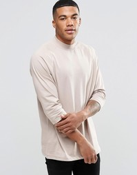 Oversize-футболка с рукавами реглан 3/4 ASOS - Бежевый